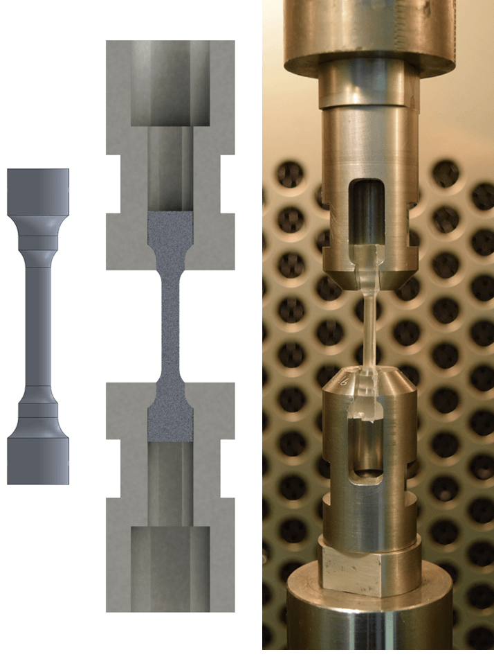 Three images are shown side by side. The leftmost shows a grey object which looks like a dumbbell, with a narrow cylindrical waist and larger cylindrical ends. The middle image shows a cross section of the first object connecting two other objects. The other objects are also cylindrical but are hallowed out. The final image is a real life picture of the apparatus depicted in the middle image.